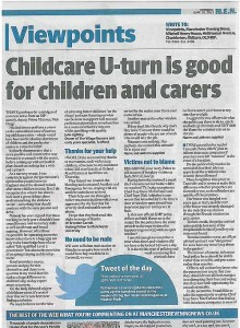letter to the Manchester Evening News about childcare ratio u-turn